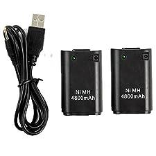 TKOOFN Lot de 2 Batteries 4800mAh Piles Rechargeables Avec USB câble De Recharge Pour Xbox 360 Contrôleur Sans Fil