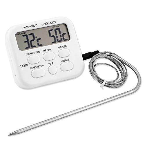 WTTO Digitales Grill Thermometer, Wireless Grillthermometer mit Timer Alarm LCD-Anzeige Hinterbeleuchtung für Ofen/Grill/Pfanne und Rotisserie,White