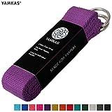 Yamkas Correa para Yoga Yoga Belt cinturón 100% de algodón con Esquinas de Metal Anillo Cierre en Diferentes Coloures Yoga Strap (Purple, 180)