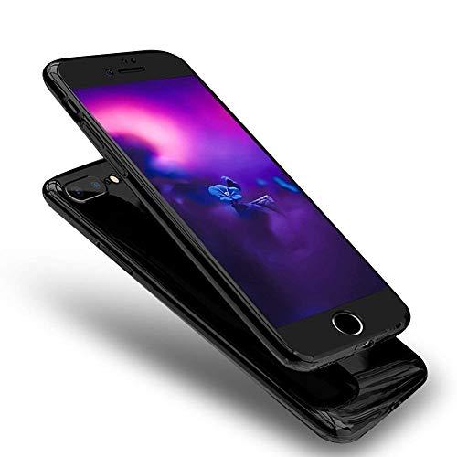 Uposao Spiegel Handyhülle iPhone SE/iPhone 5S Glänzend Glitzer Mirror Case Full Body Case 360 Grad Komplett Schutz Hülle Rundumschutz-Schale Ultra Dünn Schutzhülle Case,Schwarz