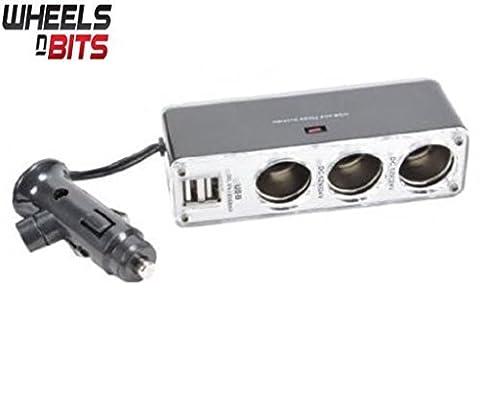 5 Way 12v or 24v 3 Way Car Lighter Multi Socket Twin 5V USB Ports Charger Adapter