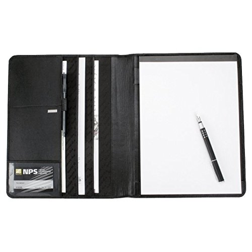 Alassio 43006 - Schreibmappe A4 CREMONA, auf Nappaleder, schwarz, ca. 32 × 25 × 2 cm