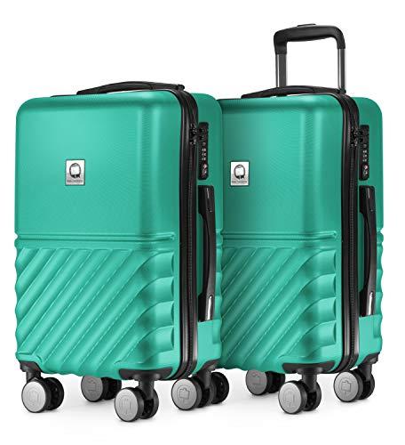 HAUPTSTADTKOFFER - Boxi - 2er Handgepäck Kofferset Bordgepäck Cabin Size Koffer 55cm, ABS-Hartschale TSA, 4 Spinner-Doppelrollen, Türkis