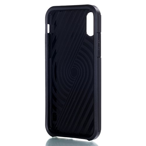 iPhone X Custodia, iPhone X Cover Silicone + PC, JAWSEU [Shock-Absorption][Anti Scratch] Gomma Protectiva Bumper per iPhone X Cover Case Caso TPU Morbida Flessibile Gel Silicone Custodia Antiurto Prot Nero