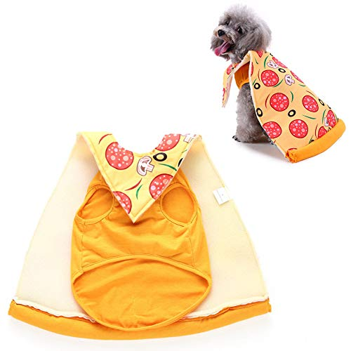 JLCYYSS Haustier Hund Kostüm, Halloween Pet Cosplay Kostüme, Pizza Slice,S