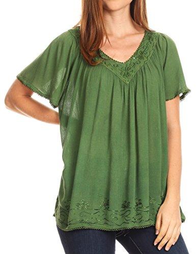Sakkas 17785 - Emma Crinkle V-Ausschnitt Kurzarm Top Bluse mit Stickerei und Sequin - Green-Pea - OS (Kurzarm-formalen Shirts)