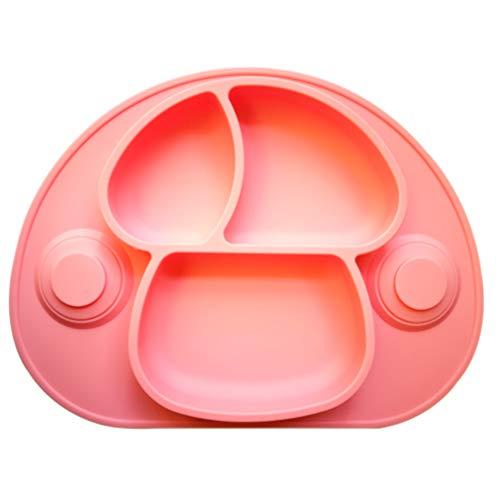 Loryloly tovaglietta antiscivolo in silicone per bambini, libera di bpa et approvata dalla fda piastra bambino, portatile stoviglie con 3 divisasezione con forte ventosa