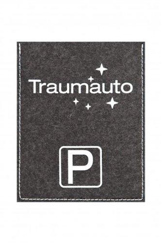 Preisvergleich Produktbild Parkscheibenhülle inkl. Parkscheibe mit Aufschrift - Traumauto Filzfarbe anthrazit, Flockfarbe weiß