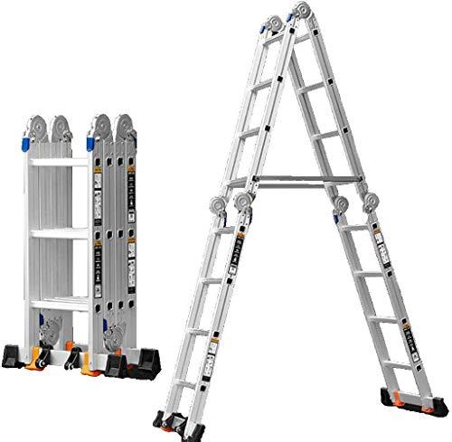 MJK Tragbare Teleskopleiter, Multi-Funktions-Klappleiter Schiebeleiter Ingenieurwesen Leiter Herringbone Leiter Haushalt Aluminiumlegierung Hebe Gerade Leiter, Dicke: 1,2 mm, Größe: 2.36M Hoch,2.36m