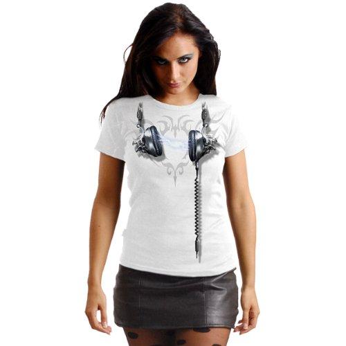 Spiral Dead Beats Girly Top, Kopfhörer Shirt, figurbetonend, weiß Weiß