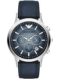 Emporio Armani  AR2473 - Reloj de cuarzo para hombre, con correa de cuero, color azul