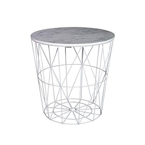 Melody Maison Table d'appoint avec Plateau en métal Blanc Effet marbre