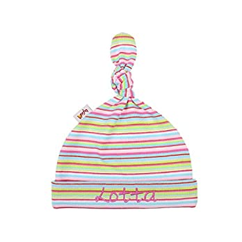 Babymütze/Zipfelmütze mit Namen personalisiert * Ringel rosa bunt