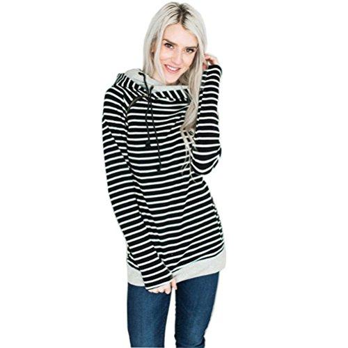 WanYang Donna Moda Maglione Con Cappuccio Maniche Lunghe Cappotto A Righe Felpa Donne Autunno Inverno Sweatshirts Nero