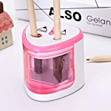 Temperamatite a Due Fori Elettrico Automatico Pencil Sharpener per Matite,Easy to clean rosa