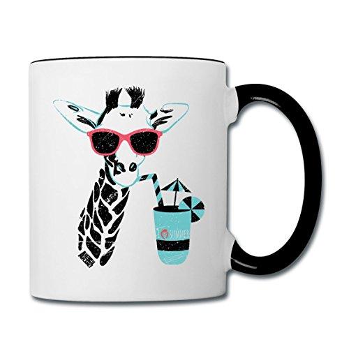 Spreadshirt Animal Planet Giraffe Mit Sonnenbrille Sommer Tasse zweifarbig, Weiß/Schwarz