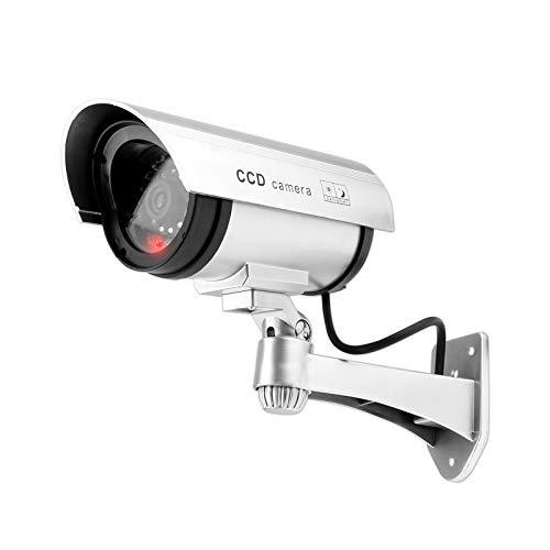 WELLGRO® Kamera Attrappe Dummy mit rot blinkendem LED-Licht - Silber, inkl. Warnaufkleber, Verschiedene Mengen wählbar, Stückzahl:1 Stück