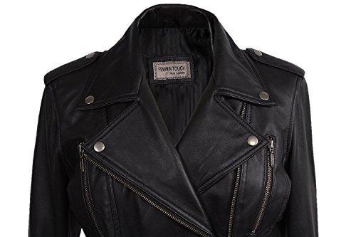Damen Frauen 100% Echtes Leder Bikerjacke Schwarz Ausgestattet Bikers Stil Vintage Rock (X-Small, Schwarz) - 2