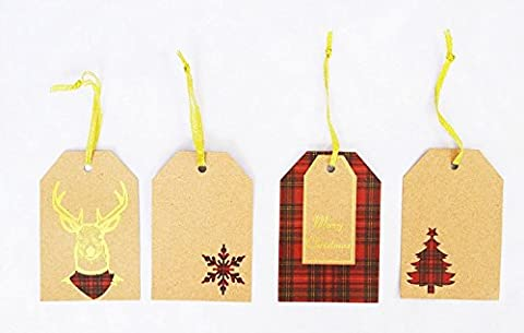 20 Christmas Gift Tags With Gold Thread Present Decoration Tartan