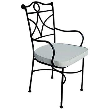 Chaise en fer forge 39 avec coussin lot de 2 pcs - Chaise en fer forge pour jardin ...