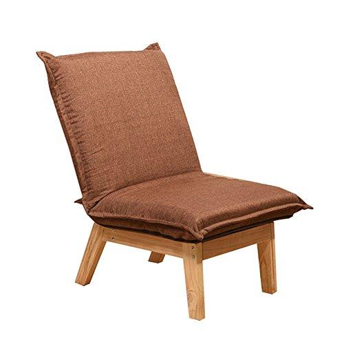 Jundengzi singolo sedia pigra lounge chair in legno massello pieghevole e confortevole copertura in tessuto rimovibile facile da pulire e assemblare 64 * 67~111 * 79~35cm (colore : marrone)