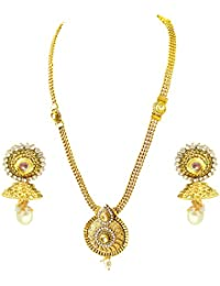 Suratdiamond Traditional Drop Shaped White Stone And Gold Plated Necklace Earring Fashion Jewellery Set For Women...