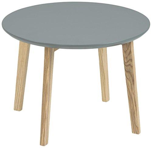 Esche Wohnzimmer Tisch (AC Design Furniture 60337 Ecktisch Mia, Tischplatte aus Holz, lackiert dunkelgrau)