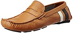 BATA Mens Print Driver Tan Leather Loafers and Mocassins - 10 UK/India (44 EU) (8554930)