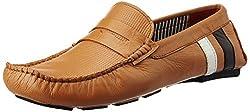 Bata Mens Print Driver Tan Leather Loafers and Mocassins - 8 UK/India (42 EU) (8554930)