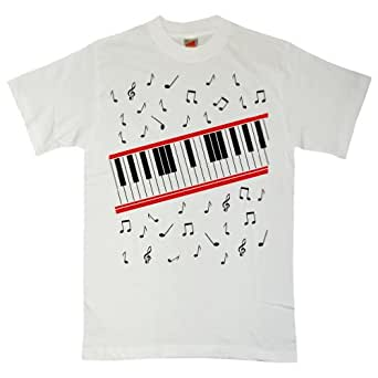 Refugeek Tees - Hommes Beat It Piano T Shirt - Small - White