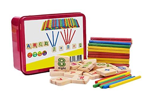 Demarkt Mathe Montessori Spielzeug aus Holz Spielzeug Doodle aus Zeichnung,inkl Metallbox zum Aufbewahren Zahlen Alphabet lernen mit Rechenstäbchen Natur ab 3 Jahre für Kinder Motorik Ausbildung