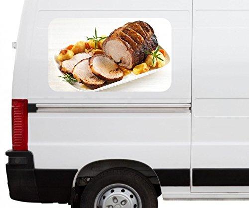 Autoaufkleber Schweinebraten Fleisch Braten BBQ Car Wohnmobil Auto tuning Digital Druck Fenster Sticker LKW Bild Aufkleber 21B612, Größe 3D sticker:ca. 161cmx 96cm -