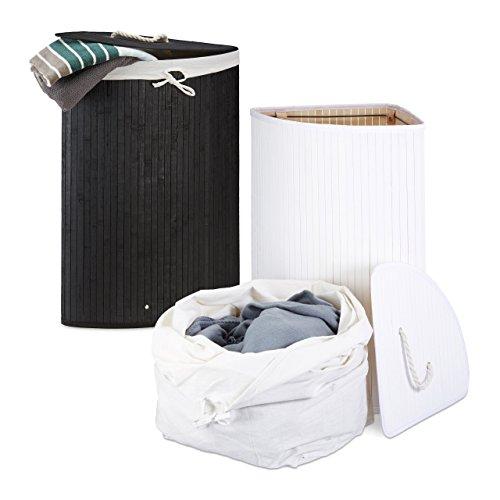2 x Eckwäschekorb im Set, Wäschetrennsystem aus Bambus, Wäschesammler mit herausnehmbarem Wäschesack, je 64 L, schwarz und weiß