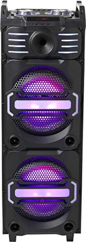 Denver DJS-3010 Bluetooth DJ-Lautsprecher mit Zwei beleuchteten 25,4 cm (10 Zoll) Speakern + Hochtöner, Schwarz