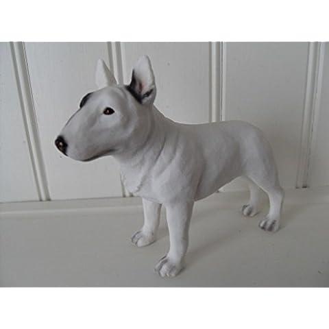 Leonardo Collection figura decorativa de Bull Terrier perro, piedra, color blanco