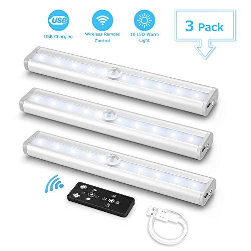 3PACK Luce per Armadio Fansteck 10LED Luce notturna USB Ricaricabile con Telecomando, Luci da Notte Nastro Adesivo Magnetico per Scale, Guardaroba, Corridoio, Cucina ect