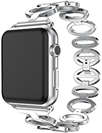 Magiyard Correa de banda de pulsera de acero inoxidable de repuesto para Apple Watch 1/2 38mm (Plata)
