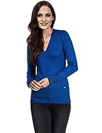 VB Damen Pullover mit geripptem V-Ausschnitt