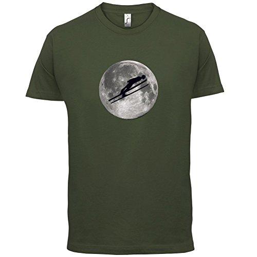 Ski Jump Moon - Herren T-Shirt - 13 Farben Olivgrün