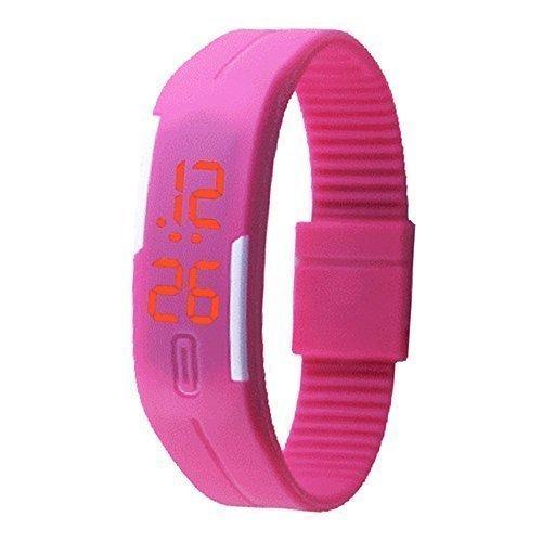 Padgene Montre Bracelet LED Numérique Silicone Sport Montre Rubber Date Femmes Hommes Unisexe, Rose
