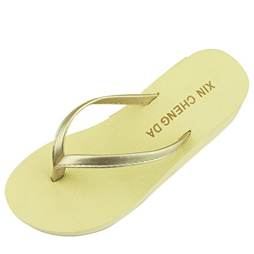 VECDY Damen Schuhe, Flipflop Lässige Sommer Mädchen Wedge Plattform Flip Flops Frauen Strand Sandalen Hausschuhe Lässige Hausschuhe Hausschuhe Freizeitschuhe