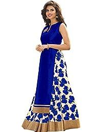 M&M World Women's Blue Banglori Silk Indo-Western Salwar-Suit