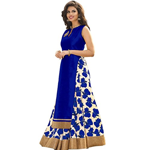 M&M WORLD Women's Silk Cotton Lehenga Choli Blue