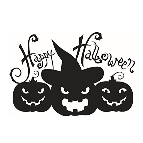 Nikgic Happy Halloween Kürbis Muster Abnehmbare Wandtattoo Wasserdichte Wandaufkleber Wandbild 58 * 39cm
