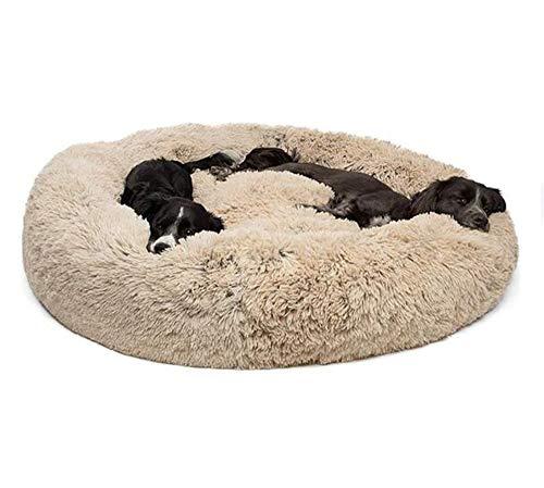 XLBHSH Rundes Hundekissen mit Donut-Motiv,Hundebett Haustier Weichem Hundesofa,selbstwärmend und gemütlich für besseren Schlaf,Maschinenwaschbar,Wasserfeste Unterseite,80cm