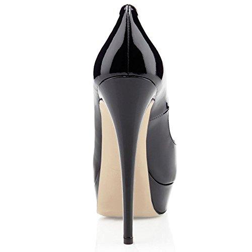 9cbe2ea24157d5 Cuckoo Damen Peep Toe High Heels Office Schuhe Klassische Slip auf Dress  Party Pumps Schwarz