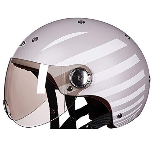 BHJqsy Schutzhelm Motorradhelme, Männer und Frauen, vier Jahreszeiten, Halbhelme, gedeckte Kraftfahrzeuge, Helme, niedlich, leicht, warmer Winter Effizienter Schutz des Kopfes