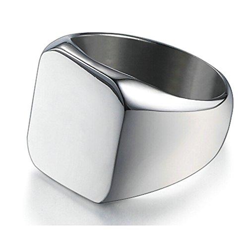 Aooaz Gioielli anelli da uomo anelli in acciaio Lucidato anelli vintage anello pollice Dimensione italiana 15