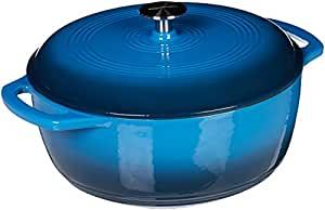 AmazonBasics Enameled Cast Iron Covered Dutch Oven, 4.1 Liter, Blue
