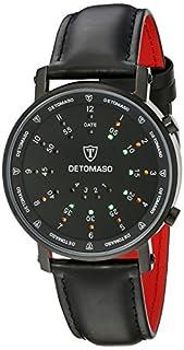 DETOMASO Men's Spacy Timeline 2 Quartz Watch with Black Dial Digital Display and Black Leather Bracelet G-30730-BK (B003URRDKU) | Amazon price tracker / tracking, Amazon price history charts, Amazon price watches, Amazon price drop alerts